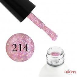 Гель-лак Koto 214 рожевий з голографічними блискітками і конфетті, 5 мл