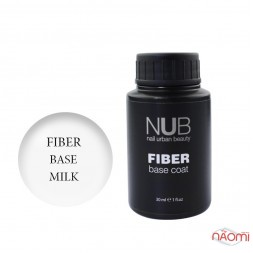База для гель-лаку з волокнами NUB Fiber Base Coat Milk, колір молочний, 30 мл