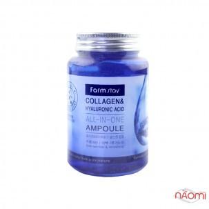Сыворотка ампульная Farmstay Collagen&Hyaluronic Acid с коллагеном и гиалуроновой кислотой, 250 мл