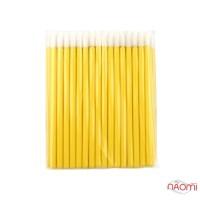 Одноразові пензлики для макіяжу, аплікатор для губної помади, макробраші жовті в пакеті, 50 шт