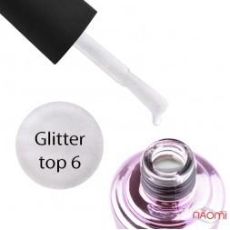 Топ для гель-лаку без липкого шару Elise Braun Glitter Top 06 з шимером, 7 мл