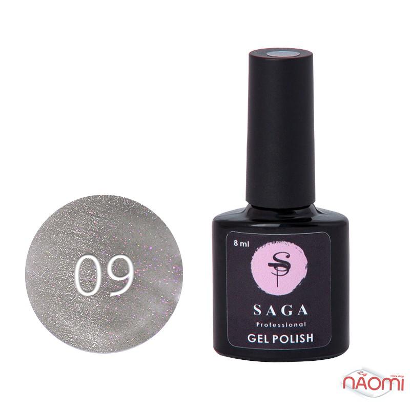 Гель-лак Saga Professional Cat Shine 09 розовое серебро с серебристо-хрустальным бликом, 8 мл, фото 1, 120.00 грн.