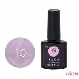 Гель-лак Saga Professional Cat Shine 10 искристый розовый с серебристо-хрустальным бликом, 8 мл