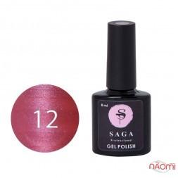 Гель-лак Saga Professional Cat Shine 12 малиново-розовый с серебристо-хрустальным бликом, 8 мл