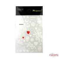 Наліпка для нігтів MG200326-02 Змії, сердця, написи, 8,5x12,5 см, колір білий