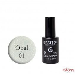 Гель-лак Grattol Opal 01, напівпрозорий з опаловими шимерами, 9 мл