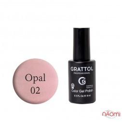 Гель-лак Grattol Opal 02, світло-рожевий з опаловими шимерами, 9 мл