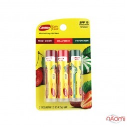 Бальзам для губ в стике Carmex Fresh Cherry, Strawberry, Wintergreen SPF 15, 3 шт. x 4,25 г