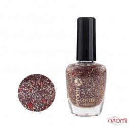 Лак для ногтей Jerden Glitter 608, золотисто-голографічні блискітки і червоні конфетті на прозорій основі, 16 мл