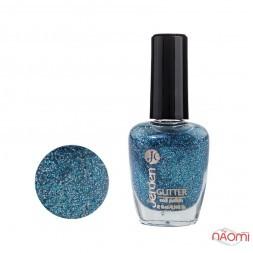 Лак для ногтей Jerden Glitter 609, сині і сріблясті блискітки на прозорій основі, 16 мл