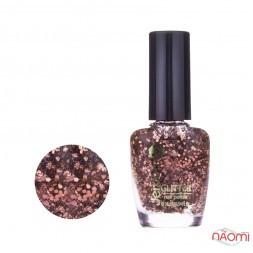 Лак для ногтей Jerden Glitter 612, бронзові блискітки і конфетті на прозорій основі, 16 мл