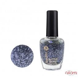 Лак для ногтей Jerden Glitter 613, мікс сіро-блакитних блискіток на прозорій основі, 16 мл