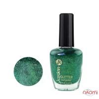 Лак для ногтей Jerden Glitter 614 зеленые блестки и шиммеры, серебристая стружка, 16 мл