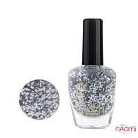 Лак для ногтей Jerden Glitter 615 серебристые конфетти на прозрачной основе, 16 мл