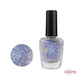 Лак для ногтей Jerden Glitter 618, бузково-блакитні шіммери і сріблясті конфетті, 16 мл