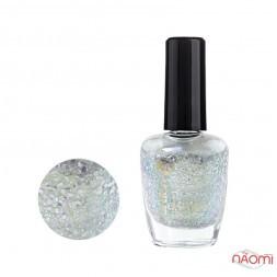 Лак для ногтей Jerden Glitter 624 серебристые блестки на лимонно-перламутровой основе, 16 мл