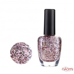 Лак для ногтей Jerden Glitter 627, рожеві конфетті на перламутрово-прозорій основі, 16 мл