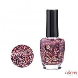 Лак для ногтей Jerden Glitter 629, червоні, білі, чорні блискітки на прозорій основі, 16 мл