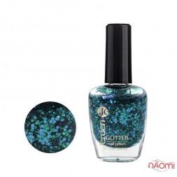 Лак для ногтей Jerden Glitter 645, синьо-зелені конфетті на прозорій основі. 16 мл