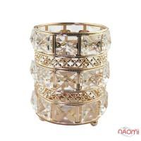 Підставка-стакан для пензлів і пилок Crystal, металева, кругла, колір золото
