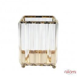 Подставка-стакан для кистей и пилочек Crystal, металлическая, квадратная, цвет золото