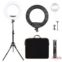 Лампа кольцевая LED FT-R480, 48 Вт, d=45 см, со штативом и регулировкой света, цвет черный