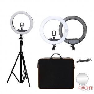 Лампа кільцева LED RL-18 II, 55 Вт, d = 44 см, зі штативом і регулюванням світла, колір чорний