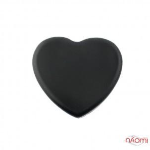 Силіконова подушка-серце для очистки пензлів, 7х7 см, колір чорний