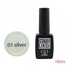 Топ для гель-лаку без липкого шару GO Active Starlike Top Coat 01 Silver з шимером, 10 мл