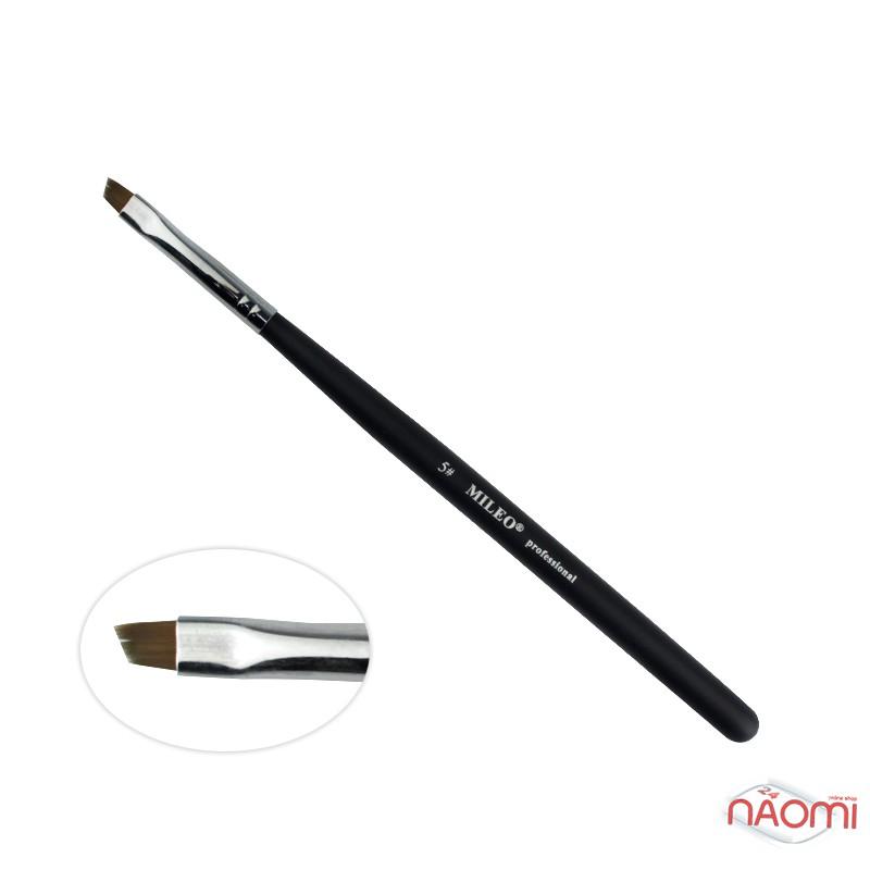 Кисть для окрашивания бровей MILEO 5, скошенная, искусственный ворс, ширина 5 мм, фото 1, 70.00 грн.