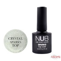 Топ для гель-лака без липкого слоя NUB Sparks Top Coat Crystal с шиммером, 8 мл