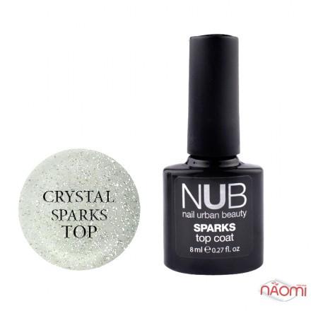 Топ для гель-лака без липкого слоя NUB Sparks Top Coat Crystal с шиммером, 8 мл, фото 1, 149.00 грн.