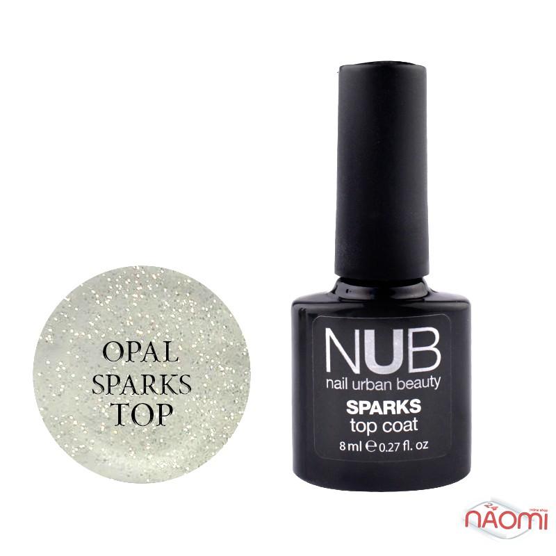 Топ для гель-лака без липкого слоя NUB Sparks Top Coat Opal с шиммером, 8 мл, фото 1, 149.00 грн.