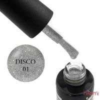 Гель-лак Oxxi Professional Disco 001 серебристые блестки и шиммеры на прозрачной основе, светоотражающий, 10 мл