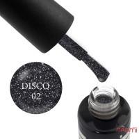 Гель-лак Oxxi Professional Disco 002, чорний з сріблястими блискітками і шимерами, 10 мл