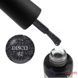 Гель-лак Oxxi Professional Disco 002 черный с серебристыми блестками и шиммерами, 10 мл
