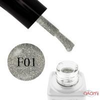 Гель-лак Nails Molekula Flash Effect F01 светоотражающие серебристые шиммеры и блестки на прозрачной основе, 6 мл