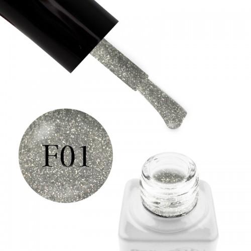 Гель-лак Nails Molekula Flash Effect F01 светоотражающие серебристые шиммеры и блестки на прозрачной основе, 6 мл, фото 1, 100.00 грн.