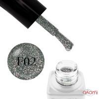 Гель-лак Nails Molekula Flash Effect F02 светоотражающий серо-серебристый с блестками и шиммерами, 6 мл