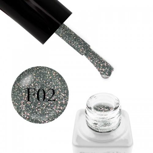 Гель-лак Nails Molekula Flash Effect F02 светоотражающий серо-серебристый с блестками и шиммерами, 6 мл, фото 1, 100.00 грн.