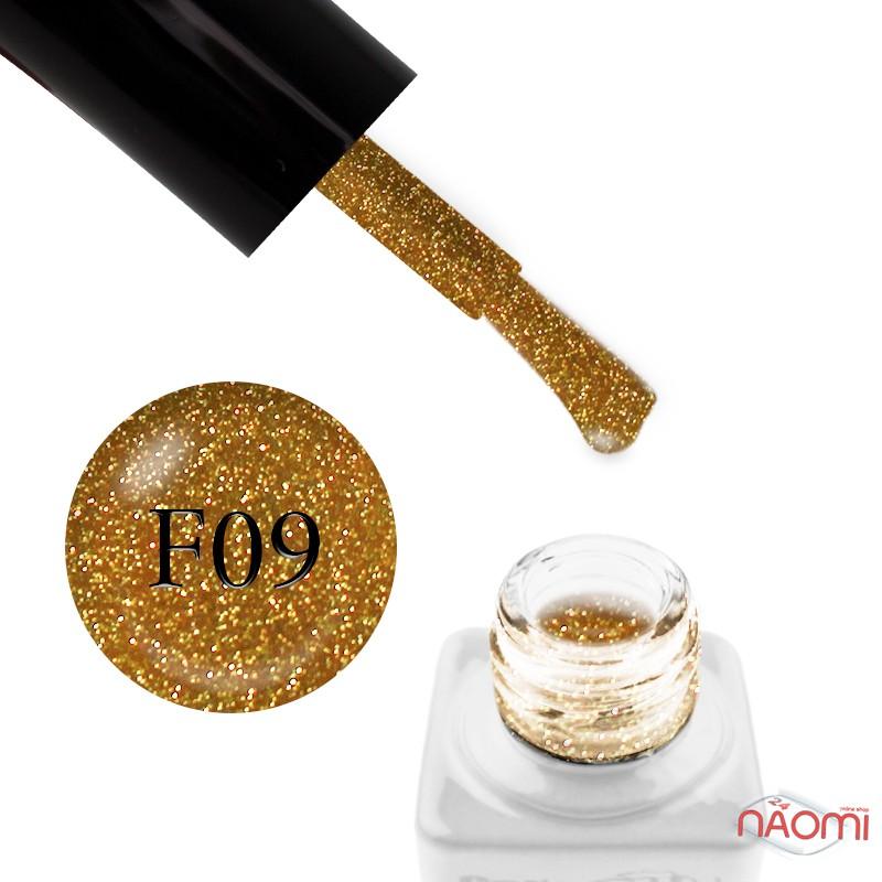Гель-лак Nails Molekula Flash Effect F09 светоотражающий желто-золотистый с блестками и шиммерами, 6 мл, фото 1, 100.00 грн.