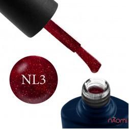 Гель-лак NUB Night Light 03 Red Sparks красный с блестками и шиммерами, светоотражающий, 8 мл