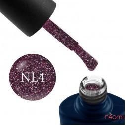 Гель-лак NUB Night Light 04 Prom Dress, вишнево-баклажановий з блискітками і шимерами, світловідбиваючий, 8 мл
