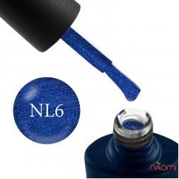 Гель-лак NUB Night Light 06 Electric Stars синий электрик с блестками и шиммерами, светоотражающий, 8 мл