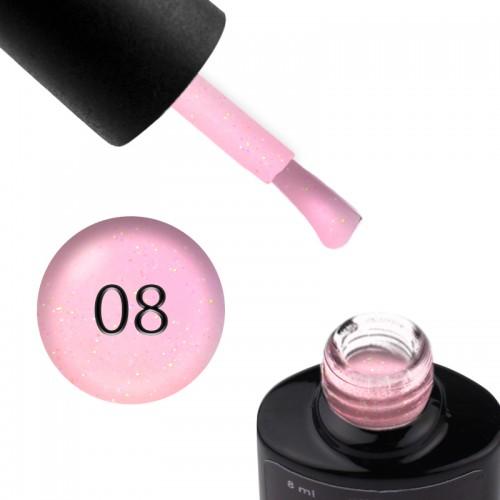 База цветная Saga Professional Color Base 008, холодный розовый с переливающимися шиммерами, 8 мл, фото 1, 130.00 грн.