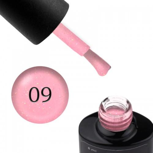 База цветная Saga Professional Color Base 009, нежно-розовый с переливающимися шиммерами, 8 мл, фото 1, 130.00 грн.