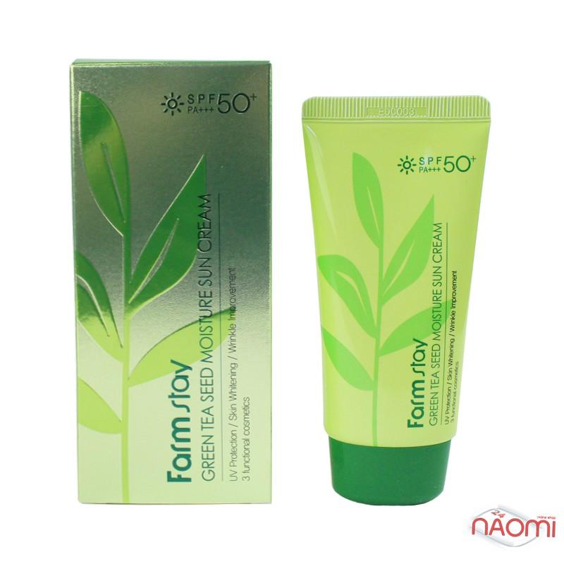 Солнцезащитный крем для лица Farmstay Green Tea Seed Moisture Sun Cream SPF 50+PA+++ увлажняющий с экстрактом зеленого чая, 70 г, фото 1, 145.00 грн.