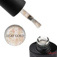 Топ для гель-лака без липкого слоя Saga Professional Top Leaf Gold с золотыми хлопьями потали, 8 мл
