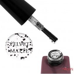 Топ матовий для гель-лаку без липкого шару Global Fashion Eggshell Velvet Matte Top Coat з чорними пластівцями 12 мл