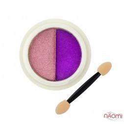 Зеркальная втирка Solid Two Color Magic Mirror Powder 02 двухцветная, цвет сухая роза и фиолетовый, 0,2 г